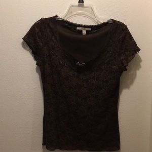 Stretch brown lace blouse